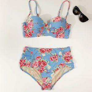 Betsey Johnson High Waist Floral Bikini M